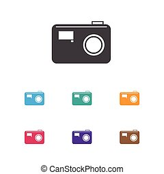 Vector Illustration Of Movie Symbol On Photo Device Icon. Premium Quality Isolated Photographing Element In Trendy Flat Style.