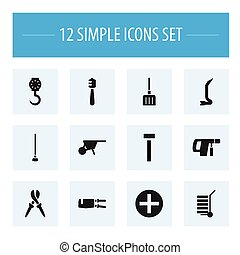 Set Of 12 Editable Equipment Icons. Includes Symbols Such As...