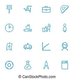 Set Of 16 Editable Teach Outline Icons. Includes Symbols Such As Encyclopedia, Ring, Dividers And More. Can Be Used For Web, Mobile, UI And Infographic Design.