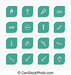Set Of 16 Editable Equipment Outline Icons. Includes Symbols Such As Rake, Bolt, Glove And More. Can Be Used For Web, Mobile, UI And Infographic Design.
