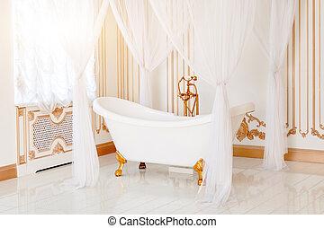 Goldenes, Badezimmer, Klassisch, Licht, Elegant, Farben, Luxus, Interior.,  Möbel, Canopy., ...