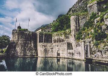 Kotor Old Town Fortress Wall - Kotor fortress wall and Old...