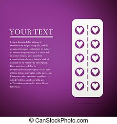 Flat design love pills. Pills in the shape of a heart in a blister pack flat icon on purple background. Vector Illustration