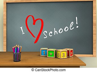 3d math cubes - 3d illustration of chalkboard with love...