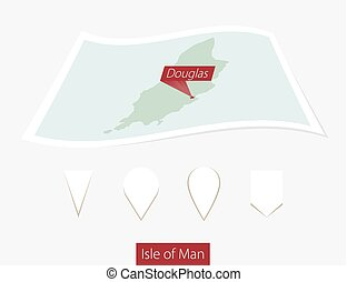 Curved paper map of Isle of Man with capital Douglas on Gray...