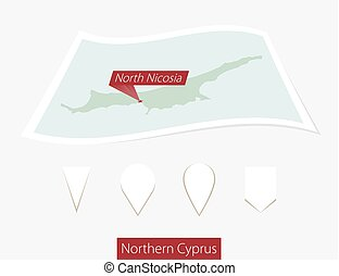 Curved paper map of Northern North Nicosia with capital...