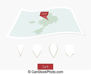 Curved paper map of Sark with capital on Gray Background. Four different Map pin set.