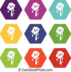 Dripping slime icon set color hexahedron - Dripping slime...