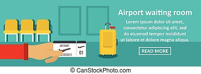 Airport waiting room banner horizontal concept. Flat...