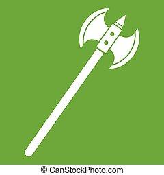 Poleaxe icon green - Poleaxe icon white isolated on green...