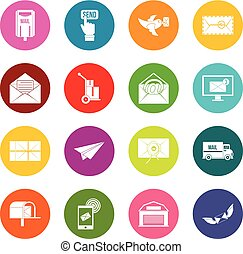 Poste service icons many colors set isolated on white for...