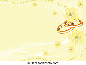 Wedding rings on yellow