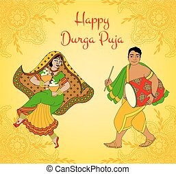 Durga Puja greeting card - Greeting card for Indian holiday...