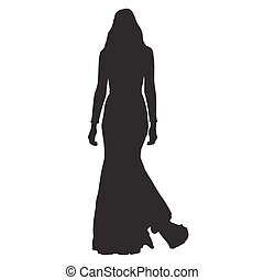 Woman walking in long dress, slim sexy lady vector...