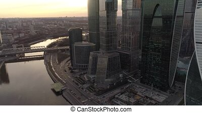 Business Center Moscow City Aerial droning in the evening. A...