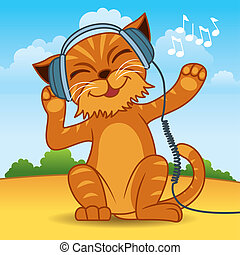 Cat Cartoon - Fun vector illustration of a ginger fur cat...