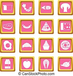 Food icons pink - Food icons set in pink color isolated...