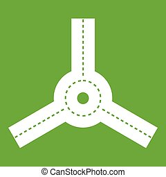 Roundabout icon green - Roundabout icon white isolated on...