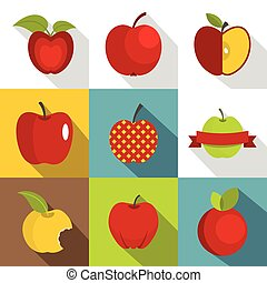 Apple sign icons set, flat style - Apple sign icons set....