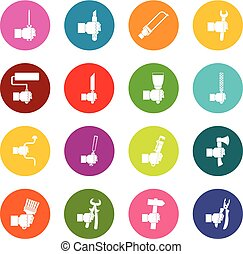 Hand tool icons many colors set isolated on white for...