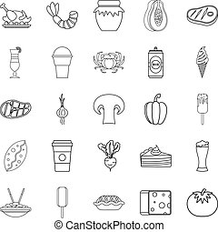 Family dinner icons set, outline style