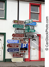 irish road signs - road signs in ballyvaughan county clare...