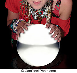 fortune teller over a blank crystal ball - fortune teller...