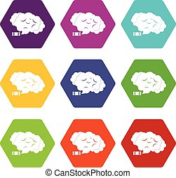 Tear gas icon set color hexahedron - Tear gas icon set many...