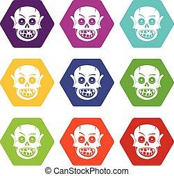 Living dead icon set color hexahedron