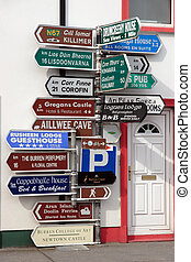 many irish road signs - road signs in ballyvaughan county...