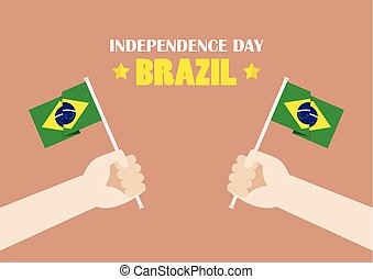 Hands Holding Up Brazil Flags. Vector illustration