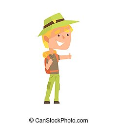 Smiling young man wearing comfy travel outfit with backpack...