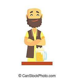 Bald bearded bartender character standing at the bar...