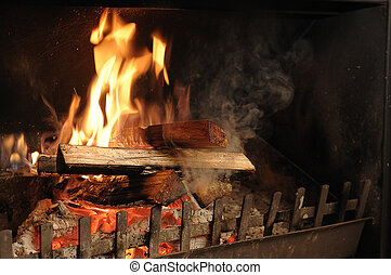Fire place in wintertime