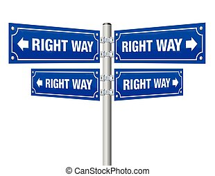 Right Way Guidepost - Right way guidepost showing in four...