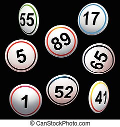 Simply 3D bingo lottery numbers over black - 3D Illustration...