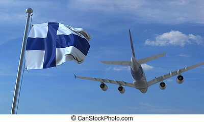 Commercial airplane landing behind waving Finnish flag. Travel to Finland conceptual 3D rendering