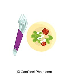 Knife, fork and plate with food cartoon vector Illustration