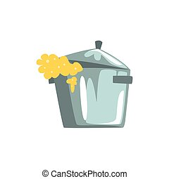 Pan overflowing with dough cartoon vector Illustration on a...