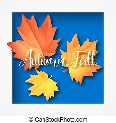 Autumn typographic. Fall leaf. Vector illustration EPS 10