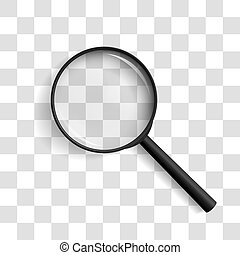 Realistic vector illustration of a magnifying glass at an angle of 45 degrees to the left