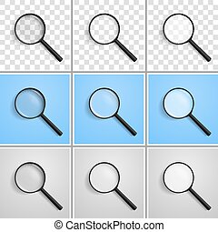 Realistic vector illustration of a magnifying glass at an angle of 45 degrees to the left with a different refraction