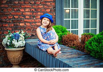 happy girl in the terrace - happy little girl in the terrace...