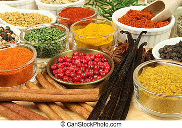Food additives - Various spices selection. Food ingredients...