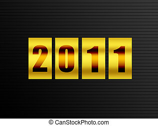 Count 2011 - 2011 new year counter over black background....
