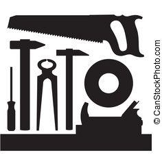 Tools - Vector images silhouettes of several kinds of tools