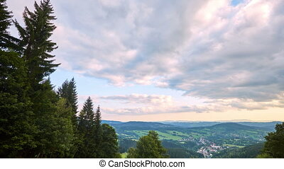 timelapse of clouds before sunset from Krkonose, Czech...