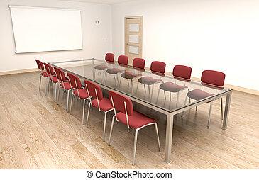 Board room - Empty boardroom or classroom. 3D render.