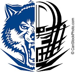 wolves football team design with mascot and facemask for...