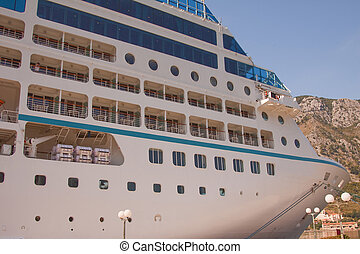 Moored Cruise Liner - Close-up of a cruise liner moored to...